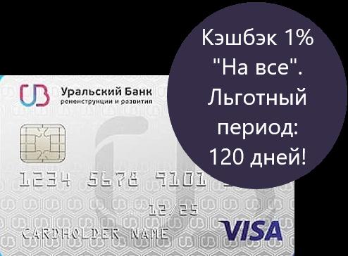 УБРиР, 120 дней без процентов, кредитная карта с кэшбэком